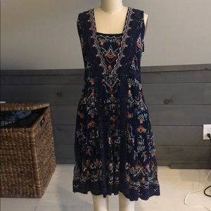 Sundance navy dress with embroidery